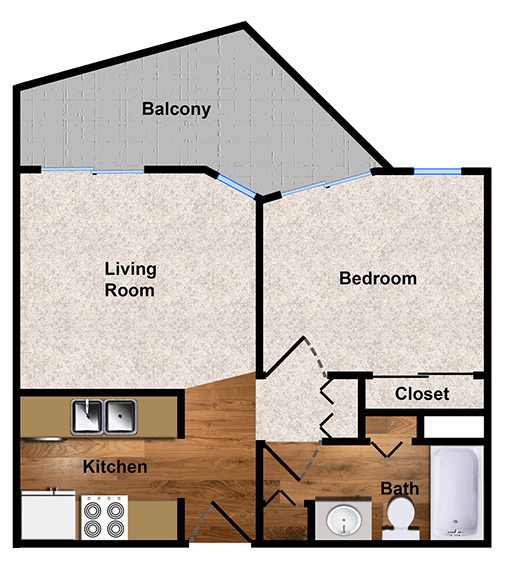 1-bedroom floor plan at Alpine Park Walnut Creek apartments