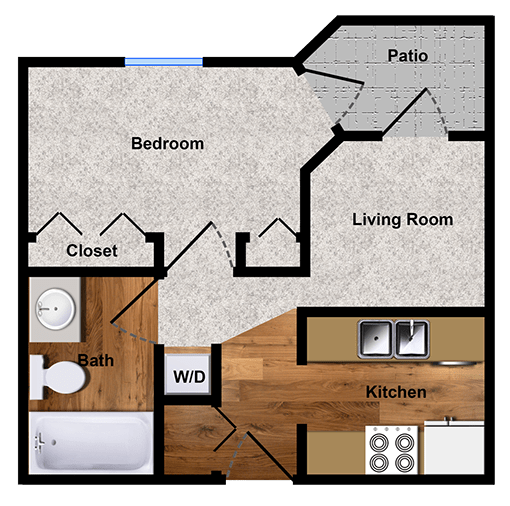 One-bedroom apartment floor plan in Walnut Creek, CA