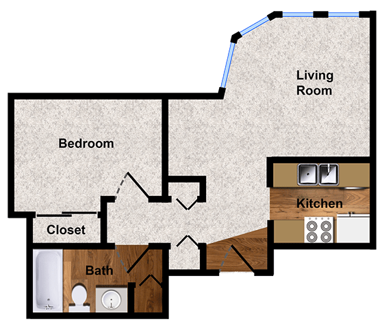 One-bedroom One-bath 700 sq. ft. floor plan at Alpine Park Apartments
