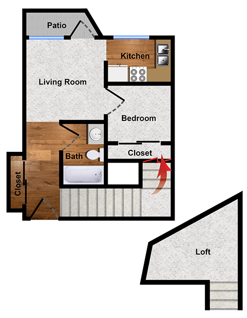 One-bedroom floor plan of Walnut Creek apartment for rent
