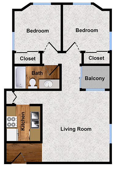 Two-bedroom floor plan at Alpine Park