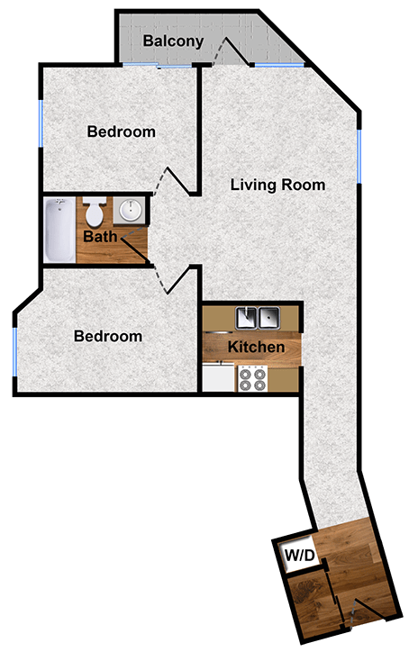 2-bed 1-bath apartment floor plan at Alpine Park
