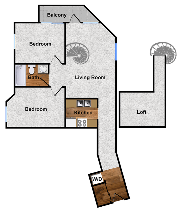 2-bedroom 2-bath floor plan in Walnut Creek , CA apartment