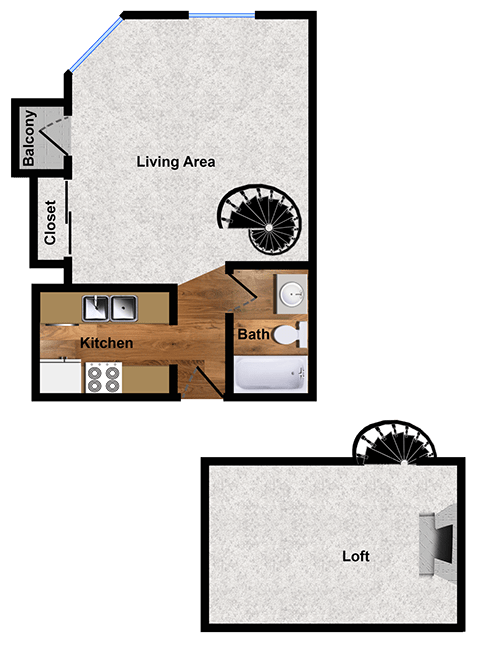 Studio apartment floor plan at Alpine Park