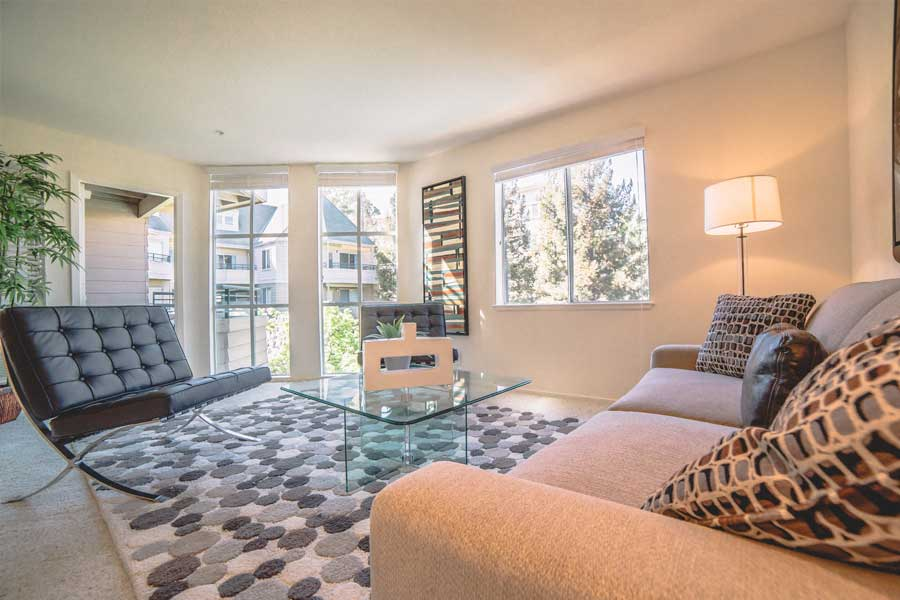Living room example with plenty of natural sunlight in our Walnut Creek, CA apartments.