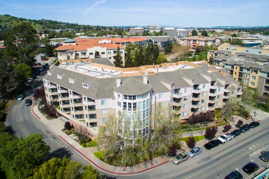 Aerial front view of Alpine Park Walnut Creek, CA apartments.